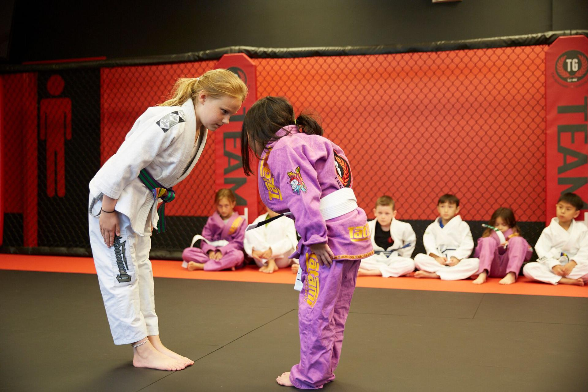 kids sitting on the mats raising their hands acting respectful in their bjj school
